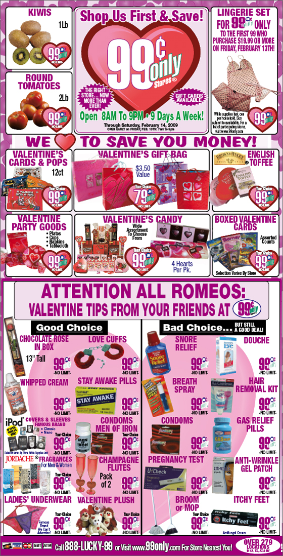 BrandFreak Valentines Day Newspaper Ad From 99 Cents Only Stores